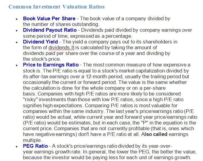 List of Important Financial Ratios for Stock Analysis When you ...
